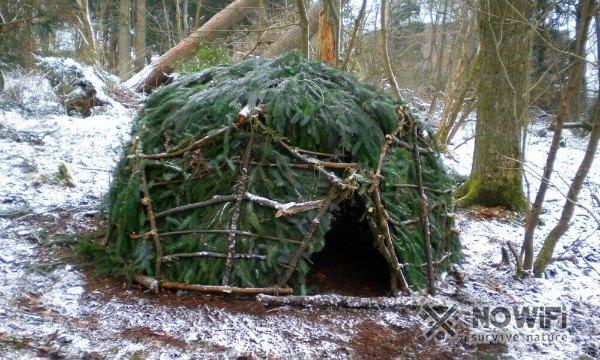 Как построить шалаш в лесу зимой