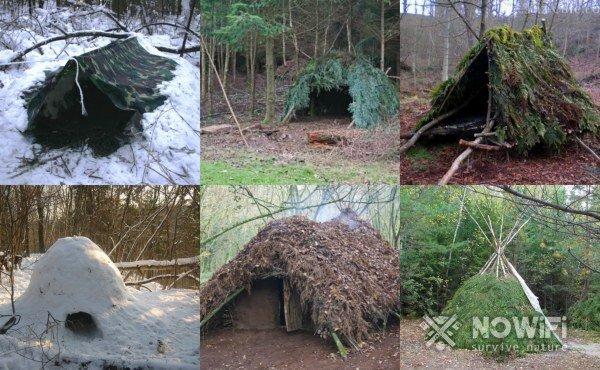 как сделать шалаш в лесу зимой