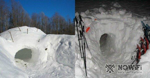 как сделать укрытие в снегу