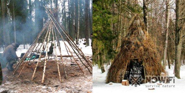 как построить шатровый шалаш