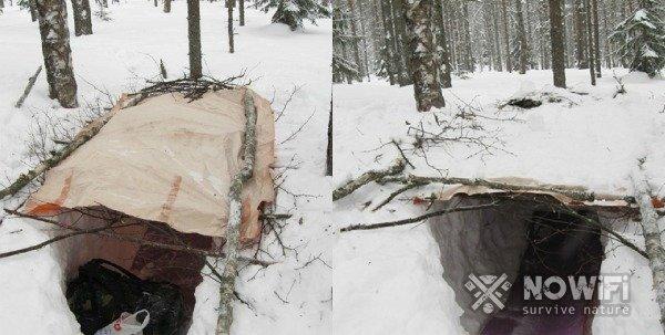 как построить укрытие в углублении зимой