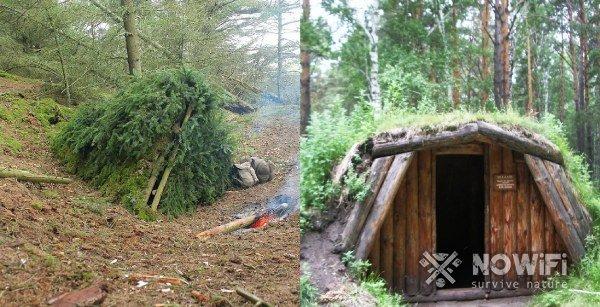 временные и длительные укрытия в лесу