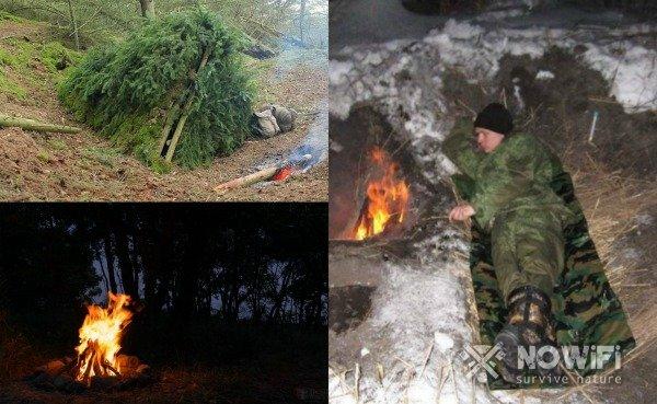 как обустроить ночлег в лесу
