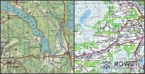 знаки реки и озера на топографической карте