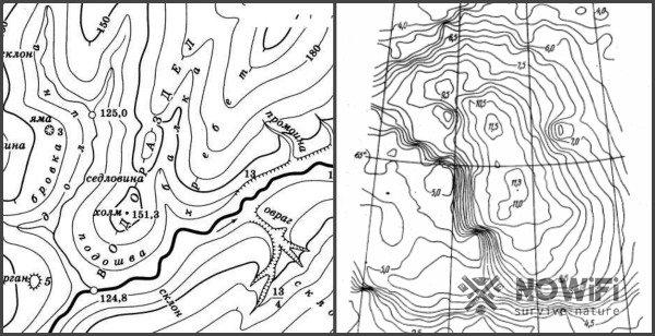 рельеф местности на картах