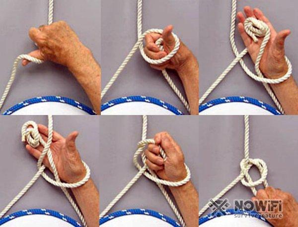 Как завязать беседочный узел одной рукой