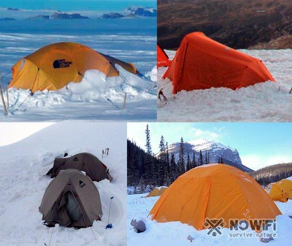 Установка палатки зимой