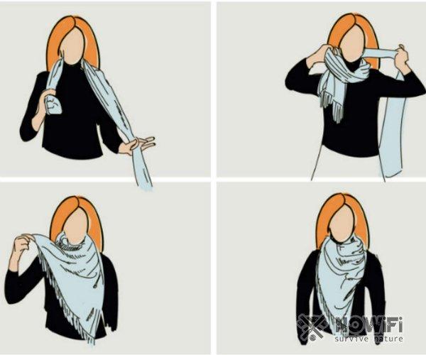 Как завязать однотонный платок